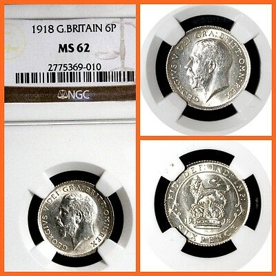 GREAT BRITAIN 1918 SIX PENCIE NGC   MS-62 SILNER COIN !!!