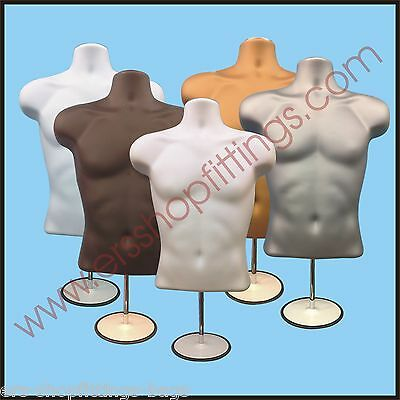 Male Mannequin Display Half Body Form with Round Stand Table Top 3qtr