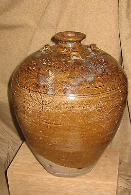 Early Antique Chinese Ceramic Vase Incised w/ Old  Restoration AS - IS