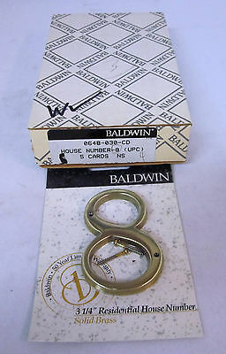 "Baldwin 0648-030-CD 3-1/4"" House Number '8' BRASS BRAND NEW!!"