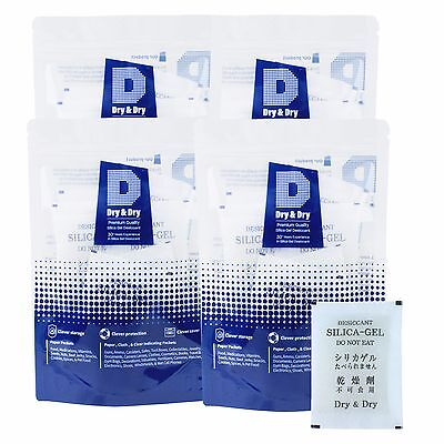 """100 Packets of 30 gram """"Dry & Dry"""" Premium Silica Gel Desiccant - Reusable"""