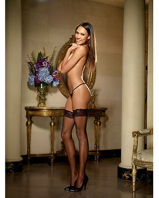 STAY UP SILICONE LACE TOP THIGH HIGH FISHNET BACK SEAM STOCKINGS Size OS & QN