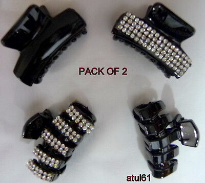 Set Of 2 Black Hair Claw Clamps~Hair Clips~Butterfly~ Grips~Hair Accessories New
