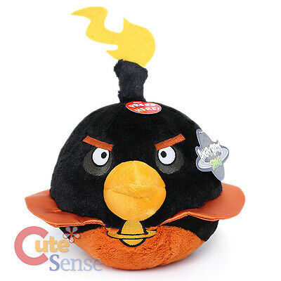"""Angry Birds Space Fire Bomb Black Bird Plush Doll 8"""" Large with SOUND Licensed"""