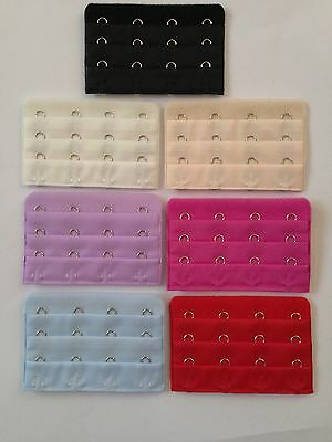 CHOOSE a CLIP ON bra extender with 4 hooks Black Nude White Red Pink Violet Blue