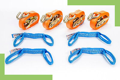 4x Spanngurt Auto Transport Zurrgurt Radsicherung PKW Quergurt orange 2,5 m