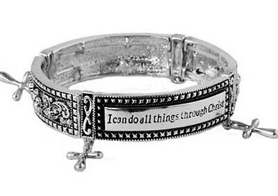 Cross Charm Stretch Bracelet-Philippians 4:13-I can do all things through Christ