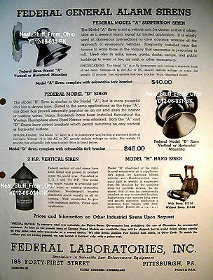 FEDERAL LABORATORIES - Circa 1940s - LIGHTS and SIRENS ADVERTISING FLYER