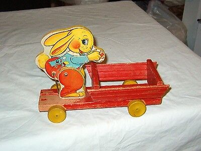 Rare Early 1941 Fisher Price Busy Bunny Easter Pull Toy
