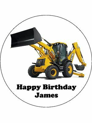 "JCB Digger Personalised 7.5"" Edible Icing Cake Topper"