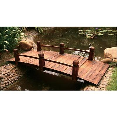 Wooden Classic Arch Bridge Garden Feature with Rails