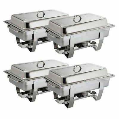 4x Chafer Chafing Dish Bain Marie Buffet 9L Food Warmer Stackable Hot Heated NEW