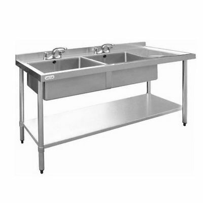 Sink with Drainer 900x1800x600mm Double Bowl Left, Commercial Stainless Steel