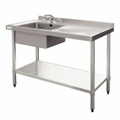 Sink with Drainer 900x1200x600mm Left Bowl Stainless Steel, Commercial Kitchen