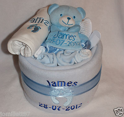 Personalised Nappy Cake, Vest, Bib, Comforter Set, New Baby Or Christening Gift