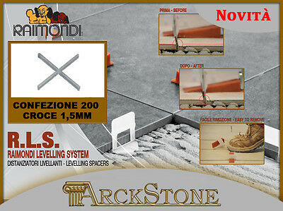 ARCKSTONE R.L.S. RAIMONDI LEVEL  LEVELLING SYSTEM 200 Distanziatori Croce 1,5mm