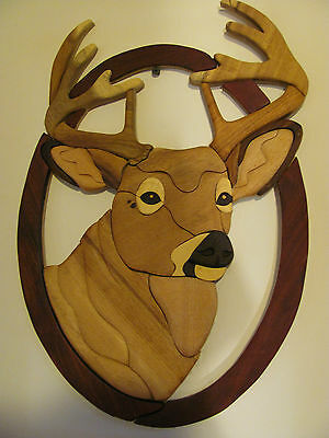 "10 Pt Buck Wooden Wall Decor Plaque - Hand Carved  16""H x 11""W TH6"