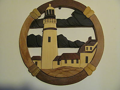"Portland Head Lighthouse Wooden Wall Decor Plaque - Hand Carved 12""D TH2"