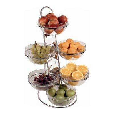 Buffet Food Display, 6 Glass Bowls, Chrome Plated Ladder, 675 x 485 x 445mm
