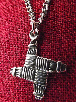 Brigid's Cross Brigid Ireland Irish Saint Oz made Pewter Chain Pendant Necklace
