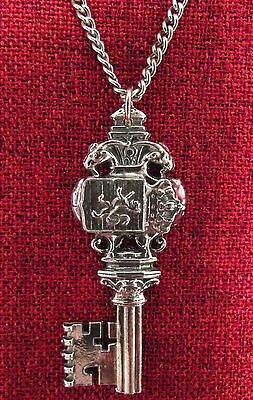 Key Pendant Medieval Lion Rampant Royal Knight Pewter Stainless Steel Necklace