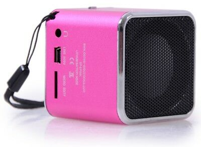 Mp3 speaker iphone ipod sound Micro sd-card slot aux bass box Denver SP-6PINK