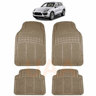All Weather Beige Tan Rubber Floor Mats Set For Porsche Cayenne