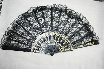 Chinese Japanese Lace Folding Fan Hand  U.S. Seller