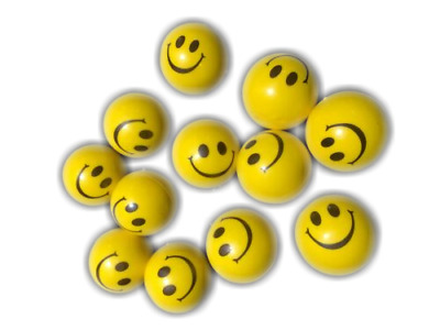 24 x Hand Stress Relief Squeeze Foam Ball Balls Smile Face Toy Yellow New BULK