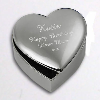 Personalised Heart Trinket / Jewellery  Box Ladies Birthday Gift Free Engraving