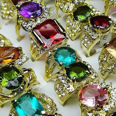 Wholesale Jewelry Lots 10PCS Cubic Zircon Rhinestones Gold P Shiny Mix Rings