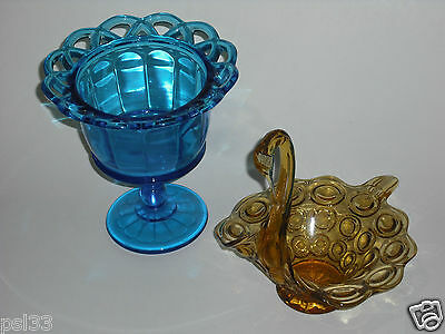 Colonial Blue Footed Lace Candy Dish / Amber Glass Swan Candy Bowl (B4)