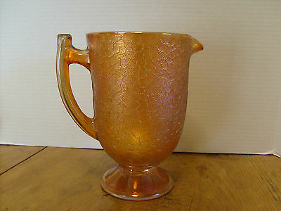 Vintage Carnival Marigold Glass crackle glass pitcher footed 36 oz  7 3/4""