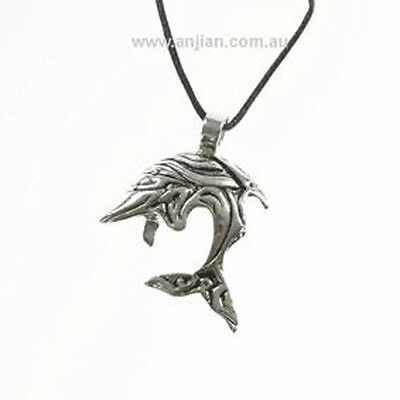 Dolphin Silver Pendant on black cord for Healing Love & Peace (OP072)