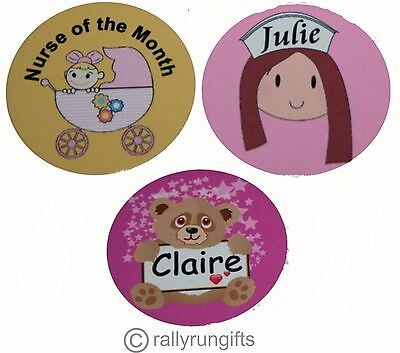 Personalised NURSE ROUND name BADGE tag PIN BACK work logo Your design NAME