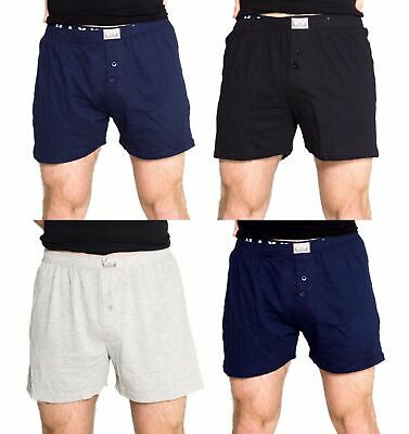 Mens 4 Pack Mixed Colours Cotton Loose Fit Boxer Shorts Sz S-XXL Black Grey Navy