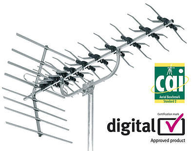 48 Element High Gain Digital Tv Aerial Freeview Hd Loft Or Outdoor Mounting