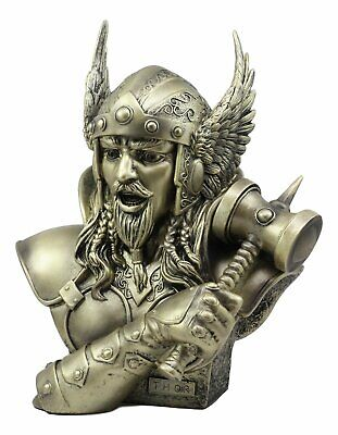 Norse God Thor Steel Finish Bust Statue Thunder Hammer