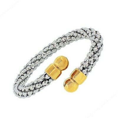 Stainless Steel Silver Yellow Gold Two-Tone Open End Womens Bangle Bracelet