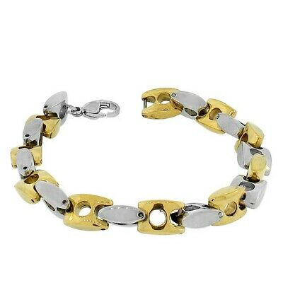 Stainless Steel Yellow Gold Silver Two-Tone Link Chain Mens Bracelet with Clasp
