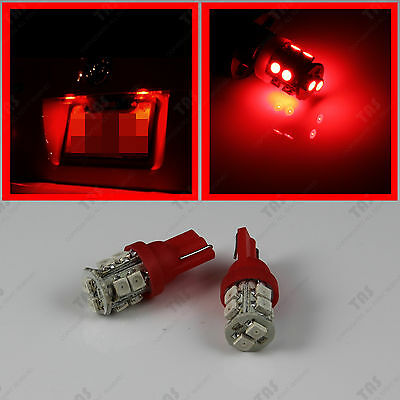 2pcs T10 Wedge 10-SMD Red License Plate Number Tag Frame LED Light Bulbs W5W 164