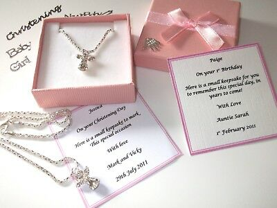 Christening gift, Baptism, Communion Girls Guardian Angel Necklace Personalised