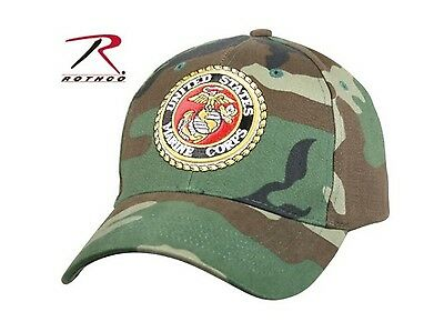 US Military Marines Corp USMC Low Profile Woodland Forest Camo Baseball Cap Hat