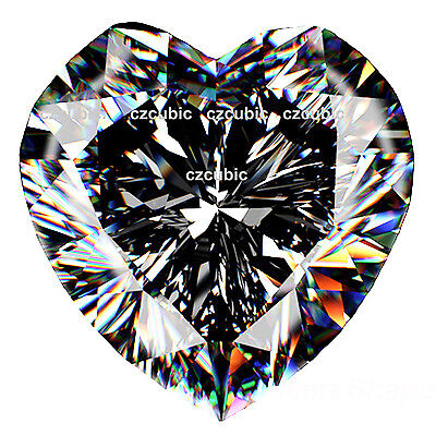 Cubic Zirconia Super Quuality Loose Heart Shape  Clear White Cz Usa Shipper
