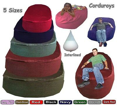 Corduroy Beanbag Beds Sofa Ottoman Lounger Settee Couch Interlined Filled