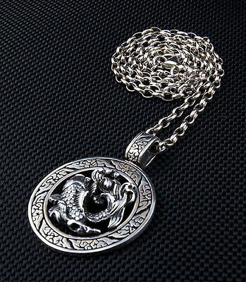 Japanese Koi Tattoo 925 Sterling Silver Pendant Chain Necklace Fish Gothic New