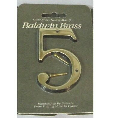 "Baldwin 0645.030.CD 3-Inch Solid Brass House Number ""5"" SATIN BRASS BRAND NEW"