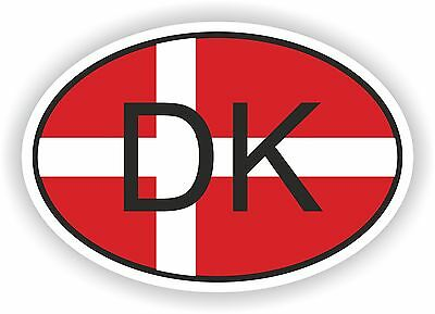 DK DENMARK COUNTRY CODE OVAL WITH FLAG STICKER bumper decal car helmet