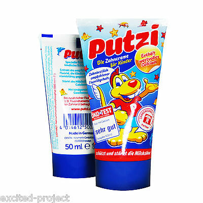 PUTZI Toothpaste For Kids Fluor & Calcium - CHILDREN & KIDS ONLY - from Germany