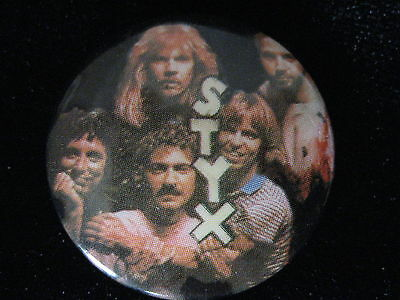 Styx-Group Shot-Tommy Shaw-Small-Button-80's Vintage-Rare